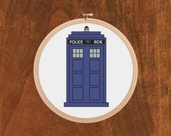 Doctor Who Tardis Box Cross Stitch Pattern