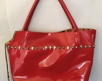 Handmade dog carrier purse, red with studs