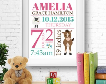 Birth stats print, wall art, birth announcement poster, birth details, customised, farm animals, horse, sheep, baby girl, digital file
