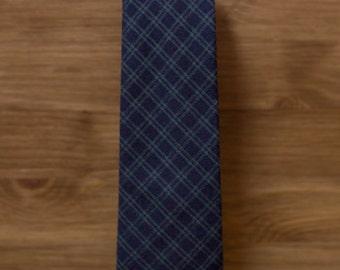men's necktie - navy & sage green plaid