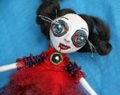Paper Clay Doll Brooch Monster Big Eyes - Jewelry Handmade Goth& Horror Art Brooch