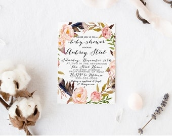 Baby Shower Invitation, Floral, Boho, Printable, Feather, Peony, Shower Invites [87]