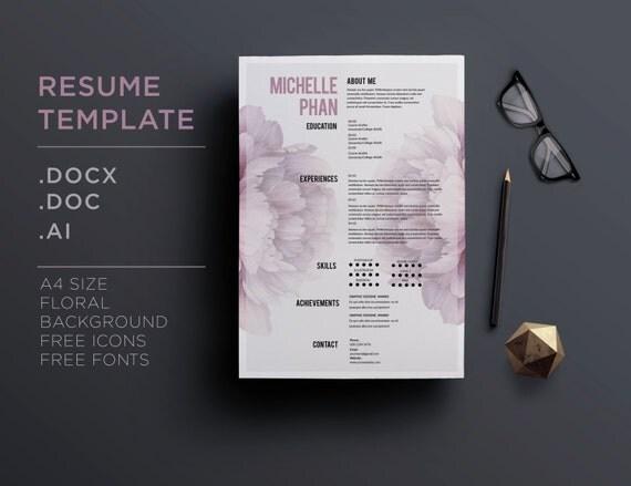 cv template    1 page resume cover letter elegant floral