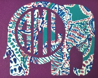 BOGO Elephant Monogram Decal- Lilly Pulitzer Inspired Elephant Monogram- Preppy Monogram- Monogram Decal- Monogram Sticker- Waterproof