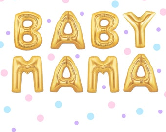 "16"" Gold BABY MAMA balloons/banner. Baby shower balloon. Mom to be balloon. Baby balloons. Hot mama balloons. Baby shower decor. Baby shower"