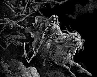 """Gustave Dore """"Death on the Pale Horse"""" Printable Poster, Dore Digital Poster, Dore Printable Digital Art"""