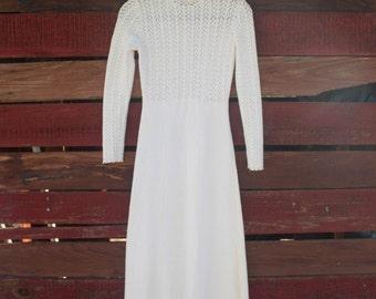 1970s Cream Picardo Knits Vintage Dress - Maxi Long