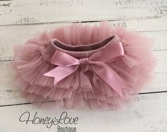 Vintage Pink Dusty Rose Mauve tutu skirt bloomers diaper cover, ruffles all around, newborn infant toddler little baby girl
