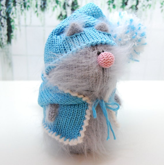 Amigurumi Wool : Plush KITTY AMIGURUMI Knit Kitty Wool Cat Handmade Little Cat
