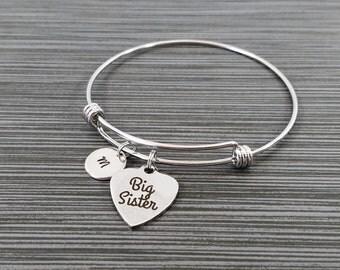 Big Sister Bracelet - Big Sis Bracelet - Expandable Charm Bracelet - Initial Bracelet - Sister Gift - New Baby Little Sister Middle Sister