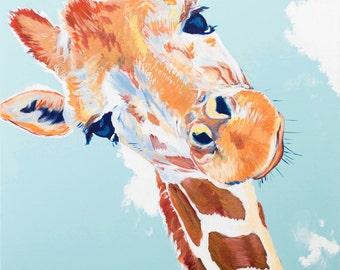 The Curious Giraffe Colorful Original Art Print