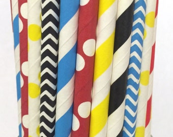 2.85 US Shipping -Superhero paper straws - Superhero straws - cake pop sticks - drinking straws