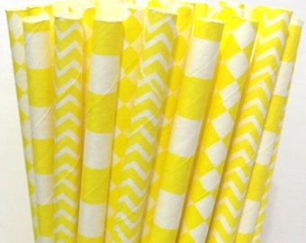 Yellow Paper Straws -Set of 25 - Cake Pop Sticks - Drinking Straws - Chevron Diamond Stripe Straws
