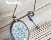 """Scripture Pendant Necklace """"When my heart is overwhelmed, lead me to the rock that is higher than I"""" Psalm 61:2 - Antique Silver or Brass"""