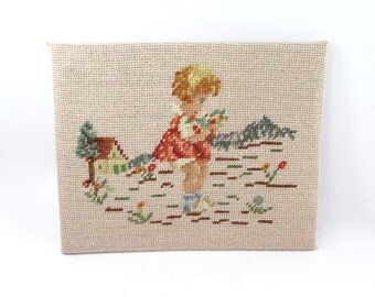 Vintage needlepoint picture - little blonde girl picking flowers near a cottage - unframed, stitchery, embroidery, cross-stitch, wall art