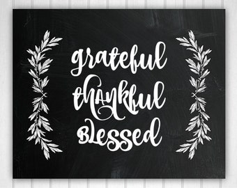 Thankful Grateful Blessed, Thankful Wall Decor, Blessed Art, Blessed Wall Decor, Thankful Wall Art, Grateful Sign