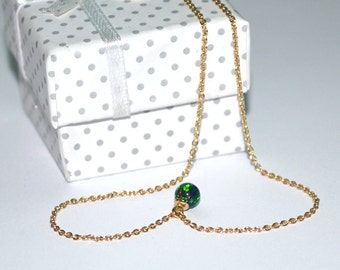 OPAL NECKLACE // Opal Ball Necklace - Opal Jewelry - Green Blue Opal Necklace Gold - Dot Necklace - Drop Necklace - Opal Charm Necklace