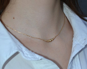 BEADED BAR Necklace Gold // Tiny Gold Necklace - Long Bar Necklace - Dainty Beaded Necklace - Horizontal Bar Necklace