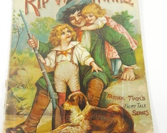 """Antique (Late 1800's) Children's Book. """"Rip Van Winkle"""". Father Tuck Fairytale Series. Raphael Tuck and Sons."""