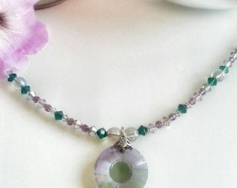 Crystal necklace pendant, emerald necklace, green and purple necklace, crystal necklace and earring set, emerald necklace set for women