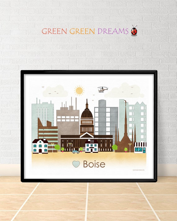 home decor stores boise idaho boise poster print wall boise skyline by greengreendreams 12440