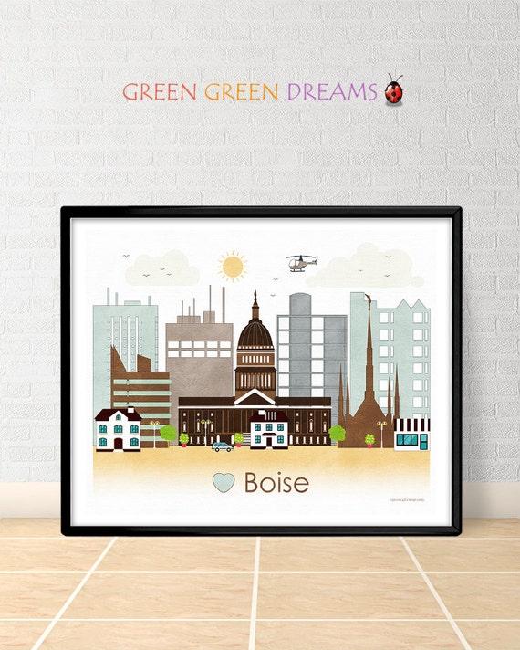 Boise Poster Print Wall Art Boise Skyline By Greengreendreams