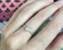 Diamond Flower Cluster Ring 18k . Diamond Engagement Ring . Wedding Ring . Anniversary Ring . Yellow White Rose Gold