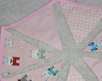 Pink bunny bunting - 7 flags 1.5 metres