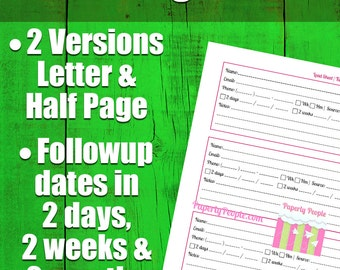 2 By 2s Lead Tracking Sheet | Sales Tools, Followup Form, Lead Sheets, Letter & 1/2 Page  Versions, Realtors, MLM, Direct Sales, Small Biz