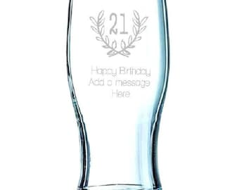 Happy Birthday, Add A Personal Message, Engraved Tulip Pint