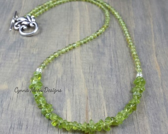 Genuine Peridot Crescent Necklace (August Birthstone)