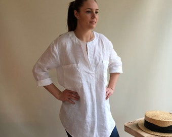 Linen Tunic Top, Linen Blouse, Loose Linen Shirt, Long Sleeves, White Linen Tunic, Boyfriend Shirt, White Linen Shirt, Plus Size Shirt