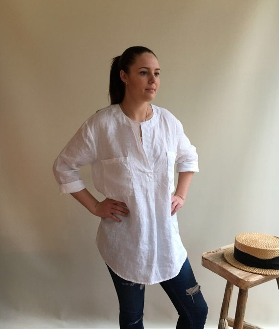 White Linen Tunic Blouse 60