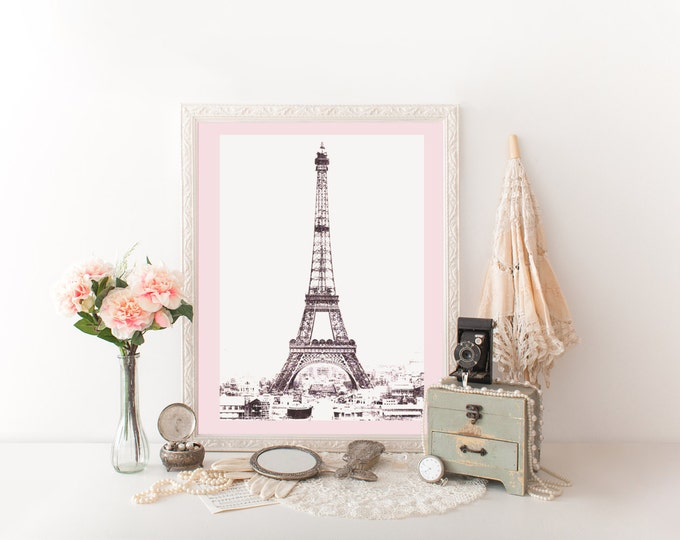 PARIS EIFFEL TOWER Digital Art Print Blush Pink Pale Pink Tinted Photograph French Digital Print Pink Eiffel Tower Photograph Diy Print