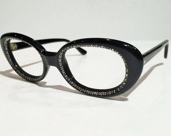Vintage Womens Black Oval Eyeglass Frames with Rhinestones, Rhinestone Embellished Women's Cateye Glasses Frames, NOS or New Old Stock