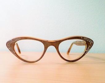 Vintage Cat Eye Glasses AB Rhinestone Embellished, New Old Stock