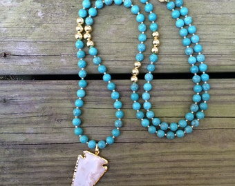 Jasper Arrowhead Pendant Necklace - Turquoise Magnesite Beaded Statement Necklace Gold Long Necklace