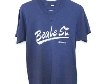 Vintage 80's Beale St. Memphis Tshirt • Distressed