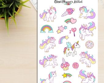 Colourful Unicorns Planner Stickers | Unicorns Stickers | Cute Unicorns (S-121)