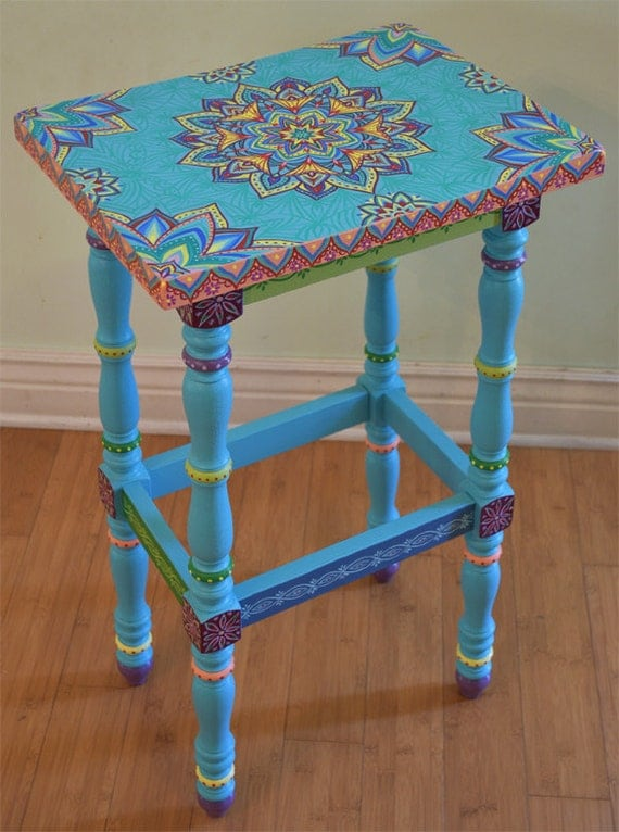 Hand painted solid wood accent table size 17 x 12 5 x 30 for 12 inch accent table