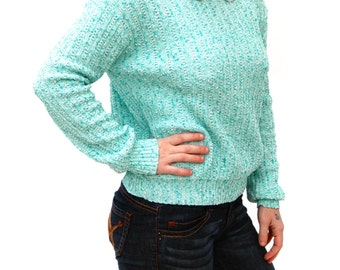 Turquoise Knit Sweater with White Peter Pan Collar Small Medium