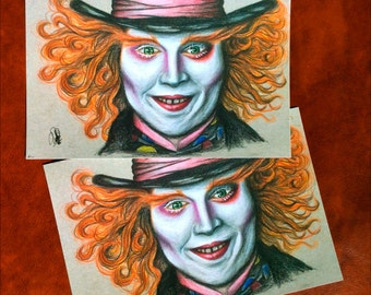 Prints of my Mad Hatter illustration, from the movie Alice in wonderland by Tim Burton. Signed and numbered.