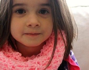 Valentines Kids Pink Scarf - Crochet Infinity Scarf - Kids Pink Cowl