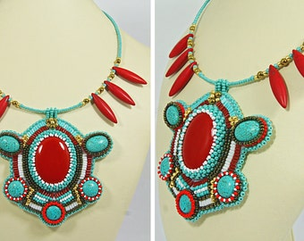 BIJOU925SALE2016 Bead Embroidered Necklace, Coral and Turquoise Necklace, Beadwork Necklace, Embroidered Necklace, Statement Necklace