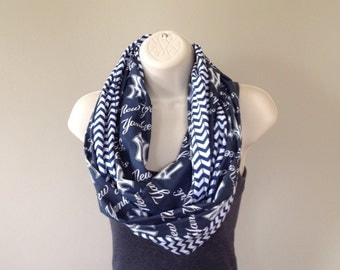 Go Yankees! Infinity scarf for Yankee fans. Women's alternative to Yankees jersey or tshirt. Gift idea.