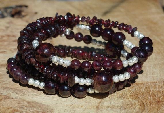 Garnet Stone Bracelet ~ Statement Bracelet ~ Red Garnet Natural Stones ~ Memory Wire  ~ Semi Precious Stones ~ Boho Red ~ Bohemian ~  OOAK