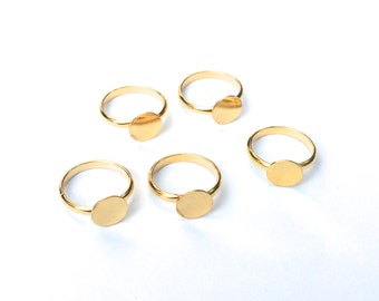 Vintage 10mm Gold Tone Ring Blank (Qty 5)