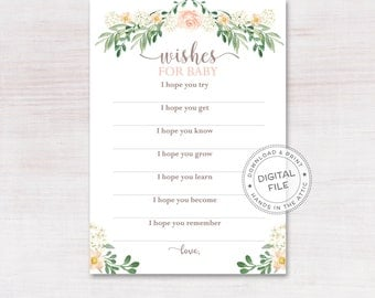 Printable wishes for baby card, hopes and messages, baby shower game cards, blank paper games, instant download, DIGITAL PDF