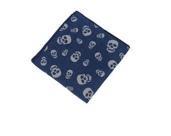 Skull Pocket Square.Skull Handkerchief.Denim Hanky.Mens Pocket Square