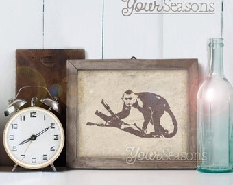 Capuchin Monkey Print - Rustic Wall Decor - 8x10 printable digital file - INSTANT DOWNLOAD!